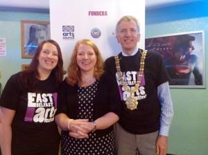 Máirtín Ó Muilleoir pictured with Heather Chesney of East Belfast Arts Festival and Naomi Long MP