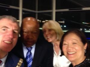 Selfie at Titanic Belfast with Congressman John Lewis, Carol Wheeler & Senator Maziehirono Hirono