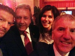 Selfie at the gala ball for Irish Arts Center in New York with 'All Souls' author Michael Patrick MacDonald and New York City Council members Danny Dromm and Elizabeth Crowley.