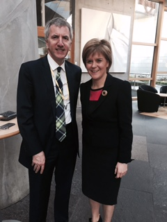 With Scotland's First Minister Nicola Sturgeon in the Parliament Buildings at Holyrood, Edinburgh