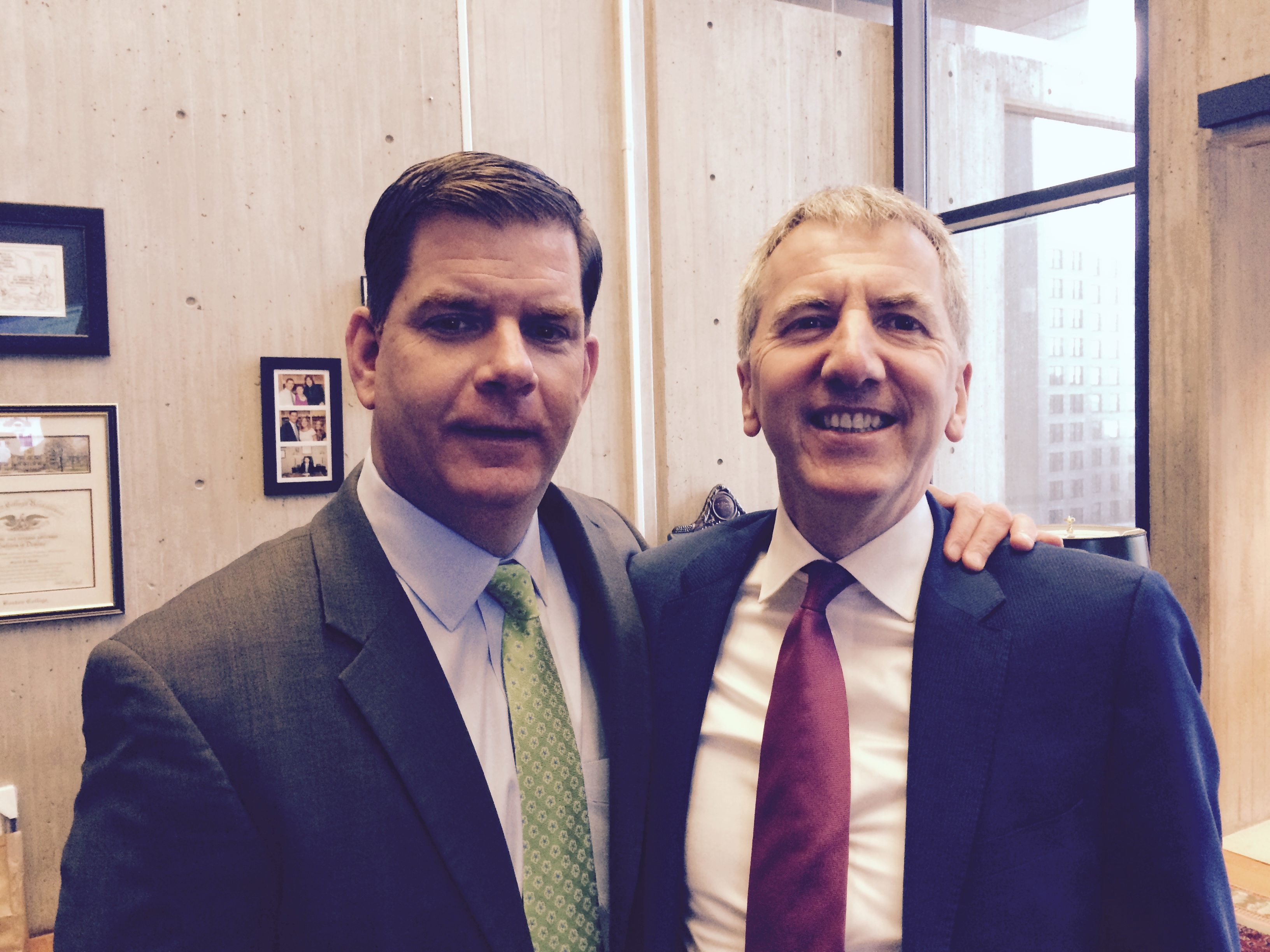 Catching up in his office with Mayor Marty Walsh of Boston on ambitious plans to mark the sister city agreement between our great cities