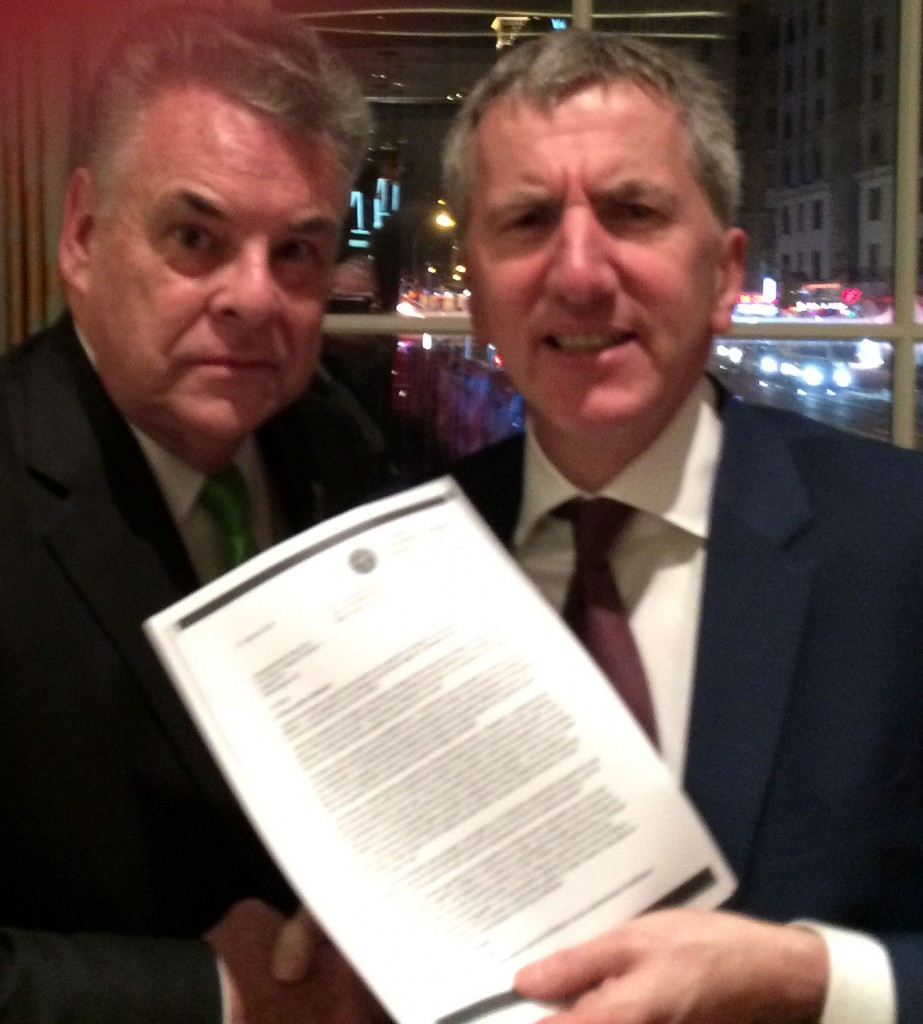 Congressman Peter King, Chair of the powerful Friends of Ireland on Capitol Hill, accepts a letter from St Mary's Principal Peter Finn asking him to intervene to keep the university college open.