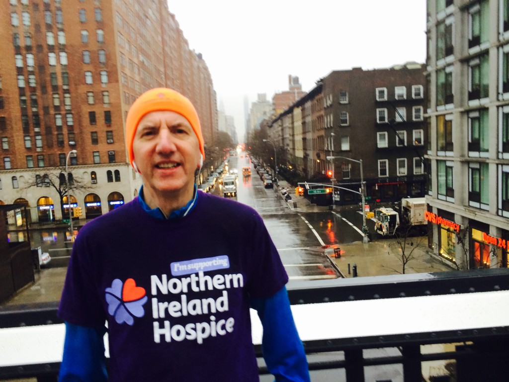 Training for the SPAR Craic 10K on the High Line in New York with my NI Hospice colours on