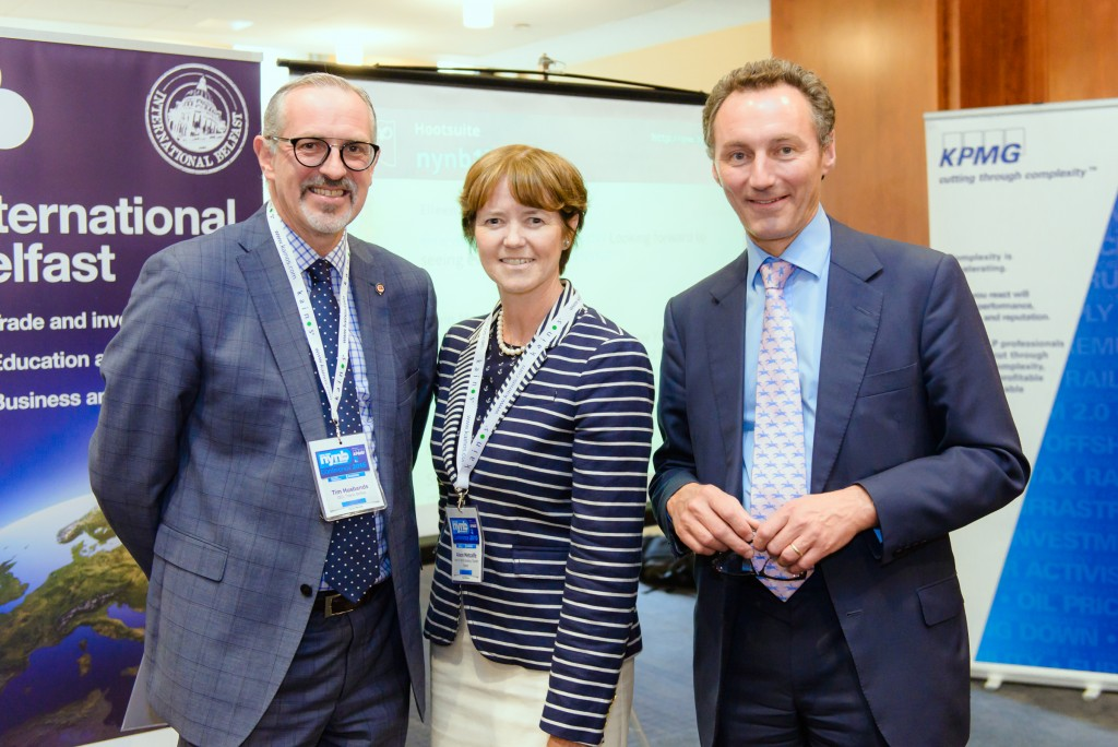 Tim Husbands, CEO Titanic Belfast, Alison Metcalfe, Head North America Tourism Ireland and David Gavaghan, Chair Visit Belfast at the New York-New Belfast gathering.