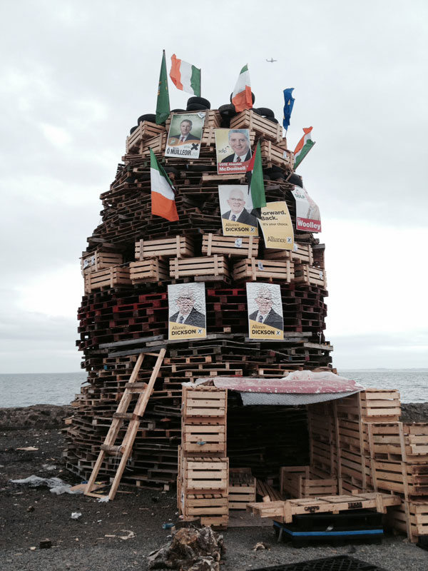 Finally, best wishes to all those celebrating the Twelfth of July in a way which respects their neighbours. I don't believe they are represented by this bonfire display from Whitehead, Co Antrim.