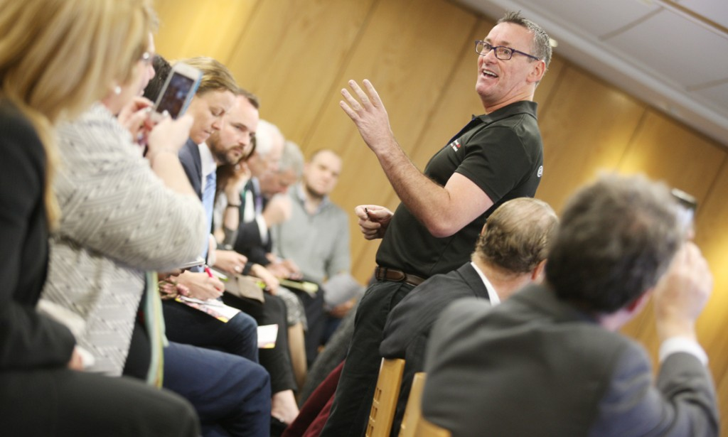 Glaswegian Jim Duffy — no prizes for guessing where his ancestors hail from — led a pitching session for young entrepreneurs during the Homecoming as part of a new Ulster Bank-backed initiative, Entrepreneurial Spark, which will bring 18 start-ups together in one 'hatchery' hub in Belfast.