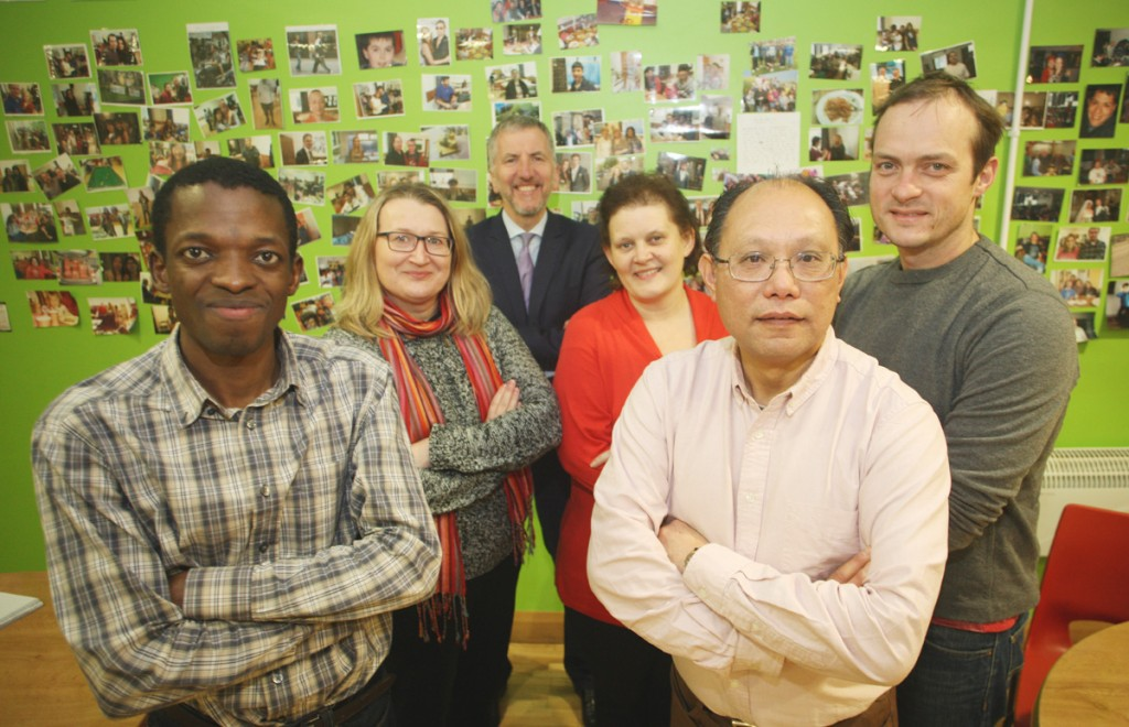 The Rev Ivan Steen (right), Stephanie and Jeremiah (left) from the Presybterian International Meeting Point welcome Patrick Yu (front right), Barbara Snowarska (left) of the Polish Cultural Society and me to their premises on the Lisburn Road.