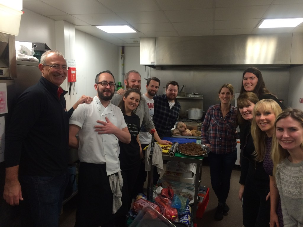 Bar Service: The staff of Aether and Echo in Belfast city centre decamped to the Welcome Centre for the Homeless in West Belfast to cook Christmas dinner for 100 souls.