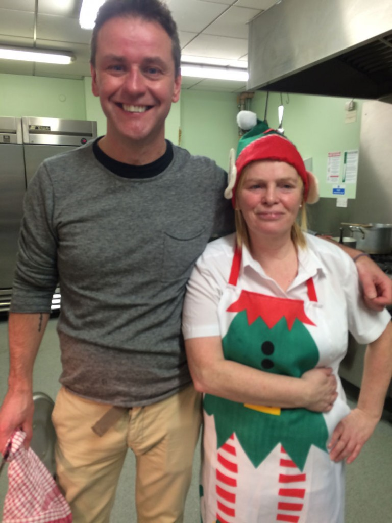 Turkey trot: Aidan and Maggie take a break from prepping the big bird in the kitchens of the Stella Maris Hostel in the docks area of Belfast.