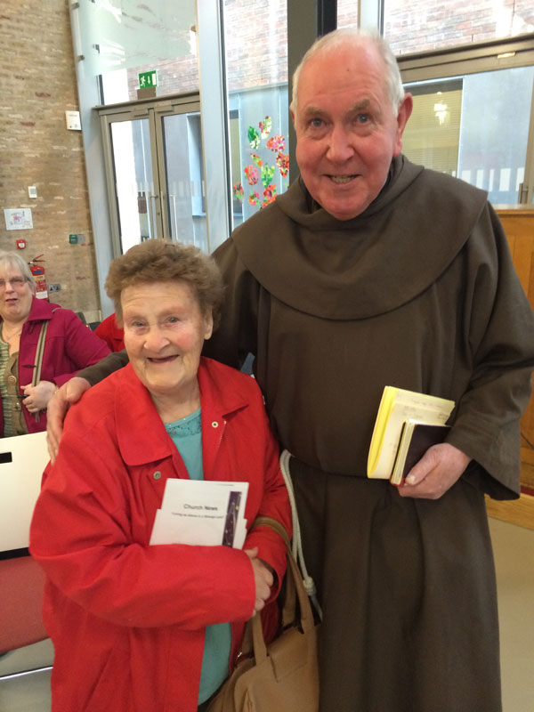 FRIENDSHIP: Betty Bell of Skainos and the Rev David Jardine at service today