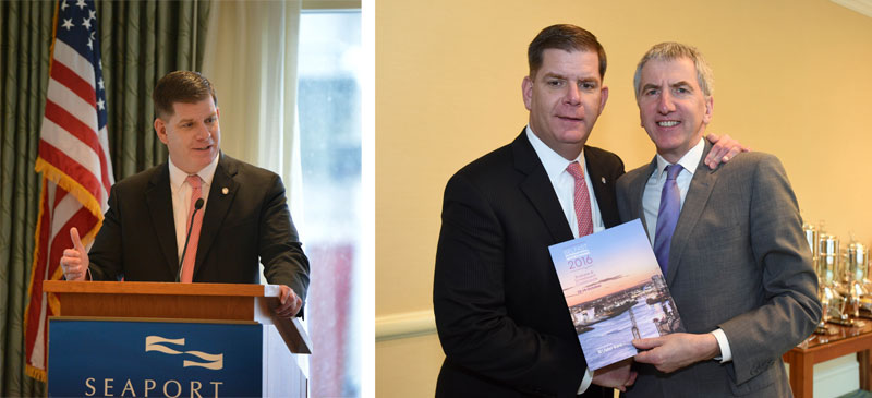 SISTER CITIES (left): Mayor Marty Walsh of Boston addresses the launch of the Belfast International Homecoming in the Seaport Hotel Boston. The Seaport district is the fastest-growing business district in all of America. CITY BROTHERS (right): Mayor Marty Walsh helps launch the brochure for the Belfast International Homecoming