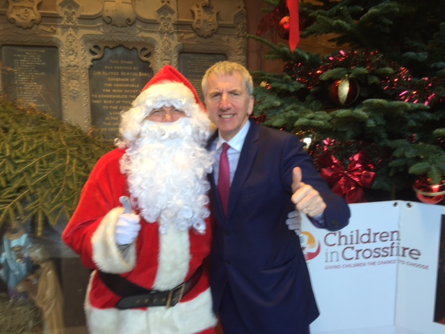 On a visit to Derry on Friday with my Irish Government counterpart Minister Paschal Donohoe, I bumped into the big man himself who was at the Guildhall raising money for life-changing charity Children in Crossfire