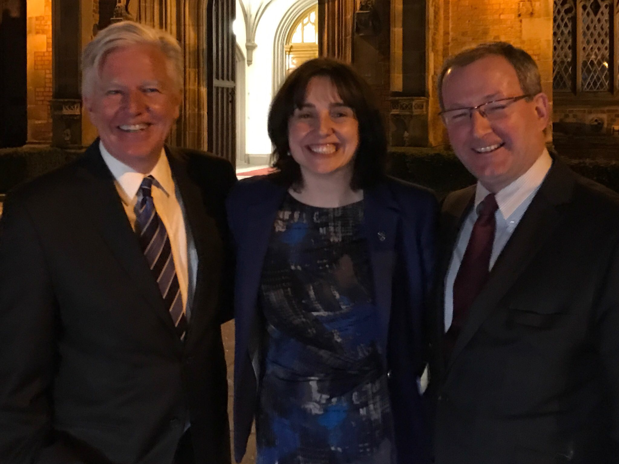 The late Paddy Johnston (right) with University of Massachusetts President Marty Meehan and Victoria Denoon of UMass Lowell during a visit to Queen's in late March of this year. I snapped this shot of Paddy with our visitors after a fun-filled dinner in honour of Marty Meehan.
