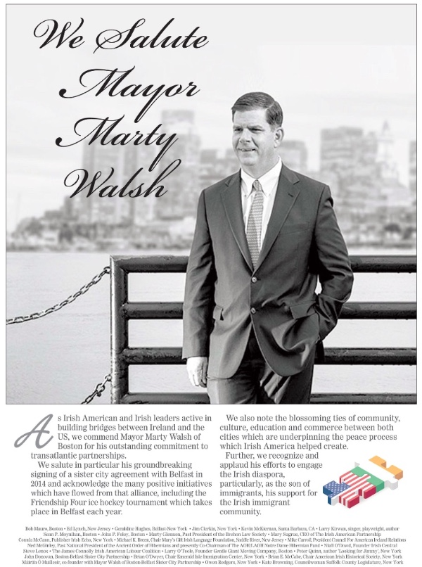 As the clocks go back, the US moves into election mode. Among those with his hat in the ring is Mayor Marty Walsh of Boston, Belfast's firmest friend in the US, who is up for re-election on 7 November. #GoMarty