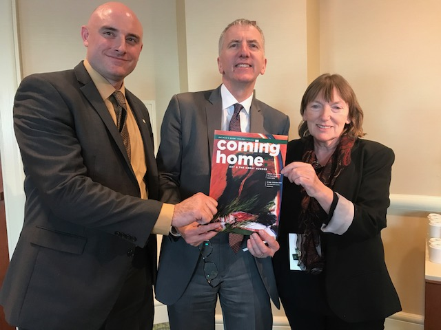 COMING HOME: In Boston with Ryan Mahoney, Executive Director of the Museum of Irealnd's Great Hunger and Professor Christine Kinealy, Director of the Institute of Ireland's Great Hunger in Quinnipiac University.