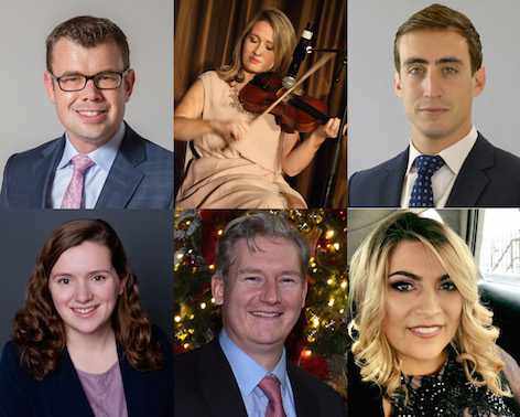 Six of the best: (Clockwise from Top left) Among this year's Irish American 40 under 40 honorees are Clive Anderson of the AOH, trad musician Maeve Flanagan, New York real estate executive James O'Neill, Boston-based start-up innovator Laura Hamilton, Belfast native Conor McCoy and New Jersey civil engineer Rebecca Reilly.