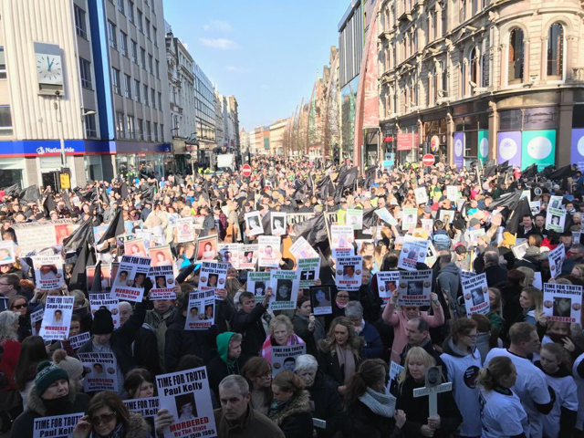 Ar thóir na fírinne: Thousands gathered in Belfast city centre today to demand truth and justice for victims of state violence. Among speakers were representatives of massacres in Loughinisland, Sean Graham's bookmakers, Ballymurphy and McGurk's Bar where the state colluded with loyalist perpetrators and then covered up their actions.