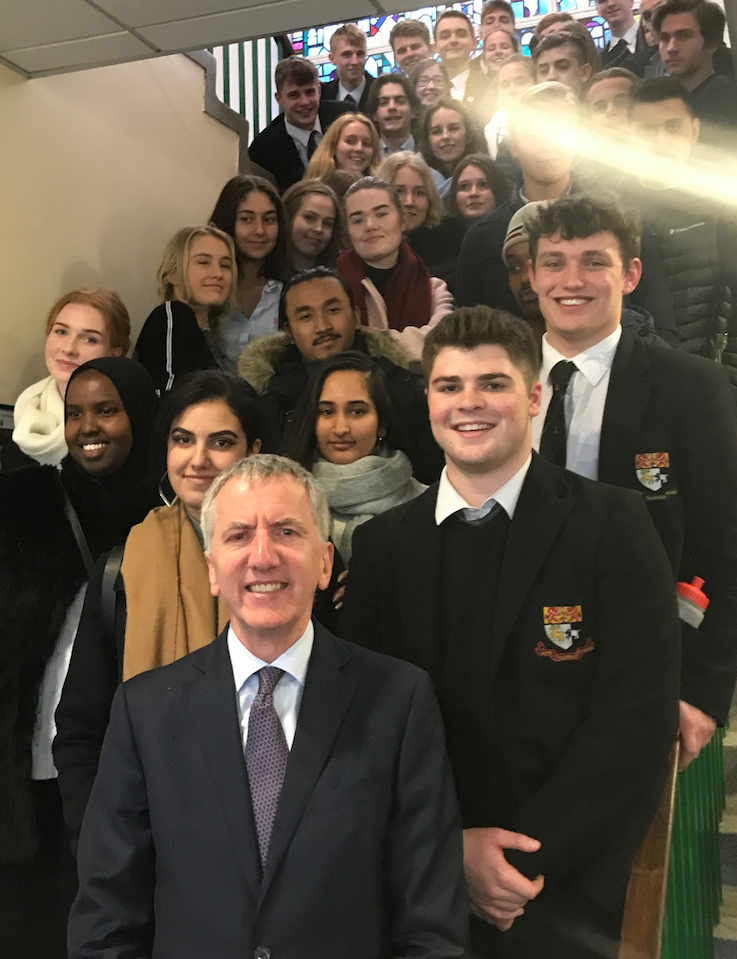 Steady as she goes: Swedish students studying peacemaking and conflict resolution join the keen students of the Politics Society at Sullivan Upper in Holywood, Co Down
