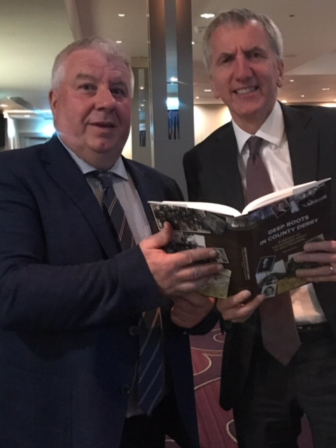 Alex Haley eat your heart out: Author Noel McKeown presents me with a copy of Deep Roots in County Derry, a look back over 100 years of pain and progress.