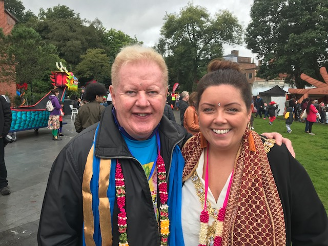 DOUBLE-TROUBLE! Two great ambassadors for Belfast at Mela today, Julian Simmons and first citizen Deirdre Hargey