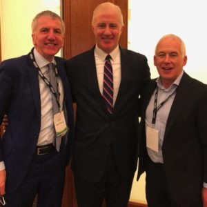 Global Family: Eugene O'Flaherty, Chief Corporate Counsel to Mayor of Boston Marty Walsh, with myself and Derry business leader Garvan O'Doherty (right), who addressed the Golden Bridges conference on his ambitious development plans for Fort George and Queen's Quay in Derry.