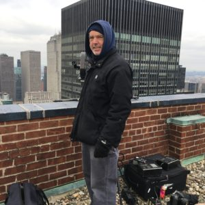 In the Big Picture: Marcus Robinson filming the JP Morgan hq on Park Avenue (in the background) in January when temperatures outdoors were not for the faint-hearted!