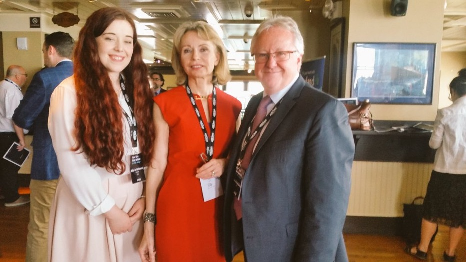 FIRST-CLASS: Bille-Joe McDowell with New York-New Belfast Conference Honorary Chair Maura Kelly and Professor Michael Alcorn, Dean of Internationalisation at Queen's University Belfast.