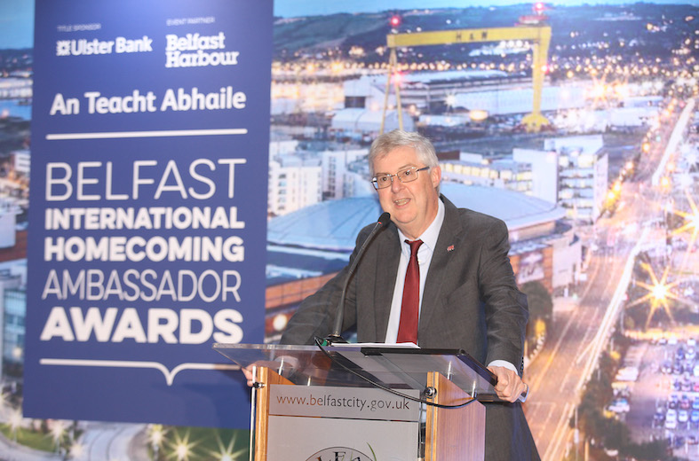 First Minister of Wales Mark Drakeford addressing the Belfast International Homecoming banquet in City Hall on Friday past. Diolch!